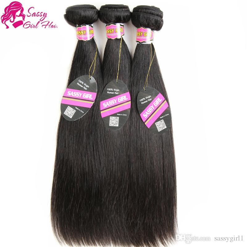 Estensioni dei capelli lisci brasiliani 3 pezzi pacchi tessuto dei capelli umani online economici capelli vergini brasiliani dritto lungo tinto morbido colore naturale