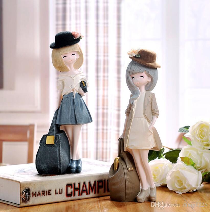 resina creativa ragazze carine bambole figurine ragazze regalo di compleanno decorazioni per la casa artigianato decorazione della stanza oggetti resina figurine signora