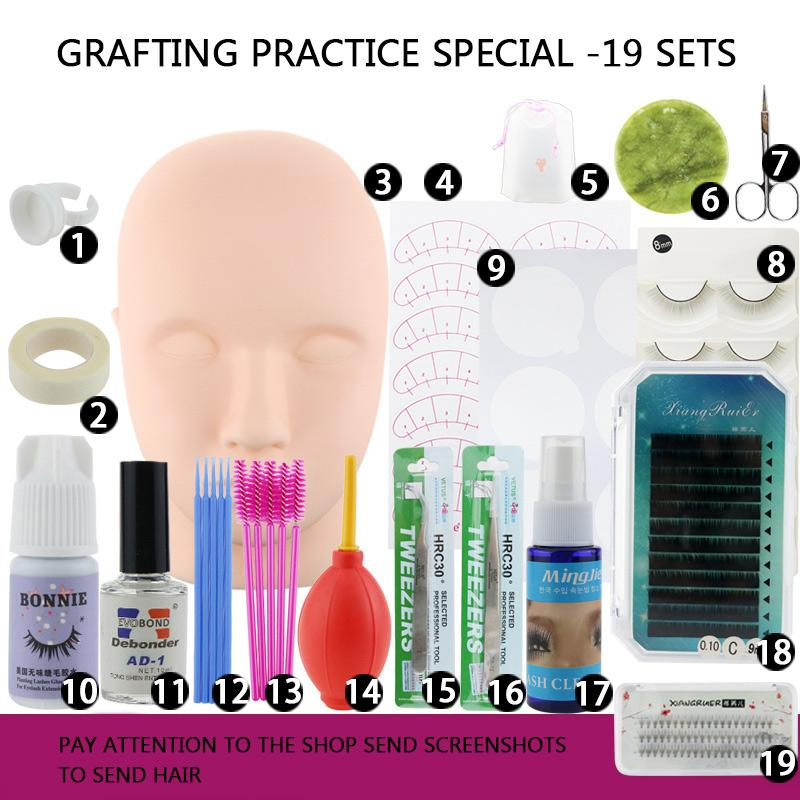 Training Eyelashes kit False Eyelash Extension Grafting Practice Curl Glue Tweezer Tools Set Eye Lash Graft Tools Combination