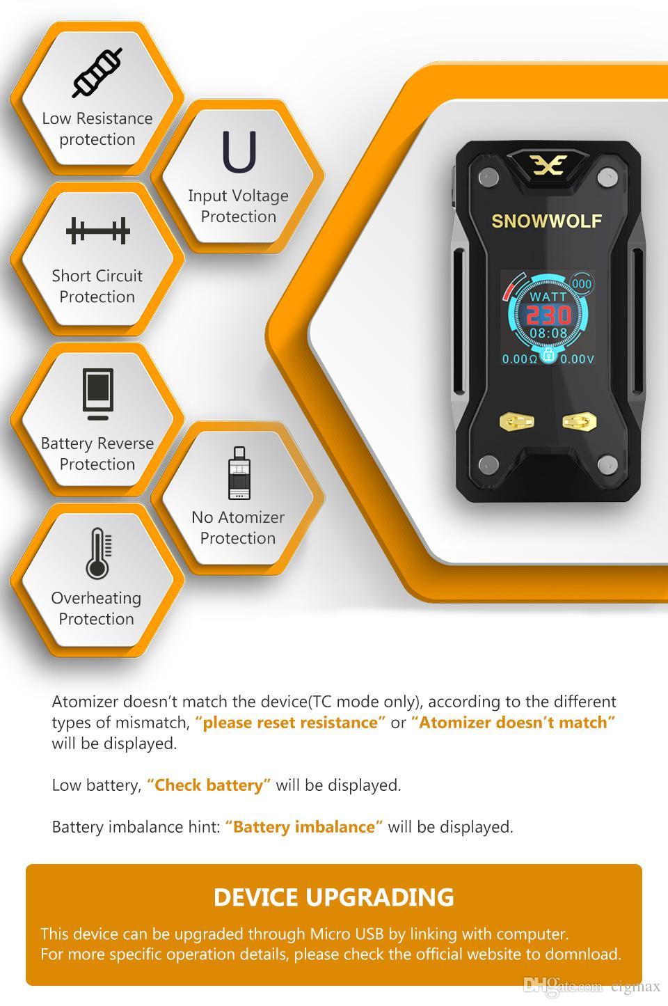 Sigaretta elettronica originale Snowwolf Xfeng 10W-230W TC Vape Box Mod 1.3 pollici TFT e battistrada 510 Sigelei Ecig No Batteria