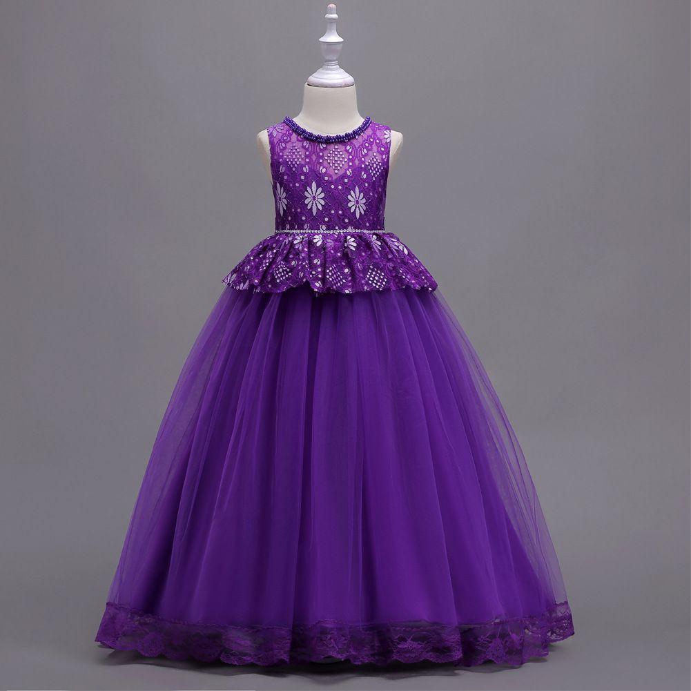 Großhandel Prinzessin Mädchen Stickerei Spitze Tüll Blume Kleider  Prinzessin Mädchen Empire Kleider Geburtstag Party Kleid Handgemachte  Perlen Tüll