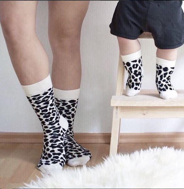 Genitori con calzini per bambini Casual Stampa leopardo Calzini All seasons Family Socks Bambini per adulto Scaldamuscoli