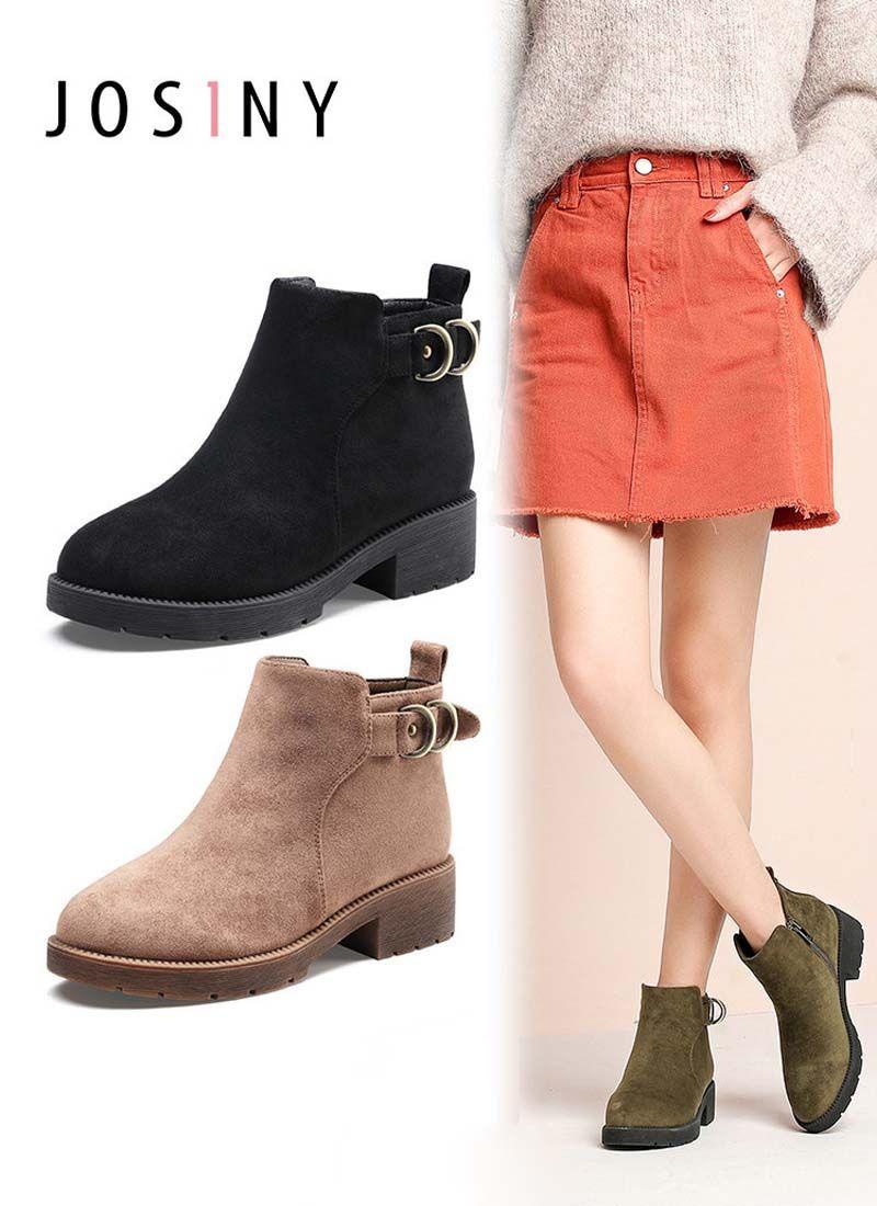 Women Belt Buckle Zipper Lace Up Fashion Martin Short Shoes Winter Female Plush Boot Lady Ankle Boots
