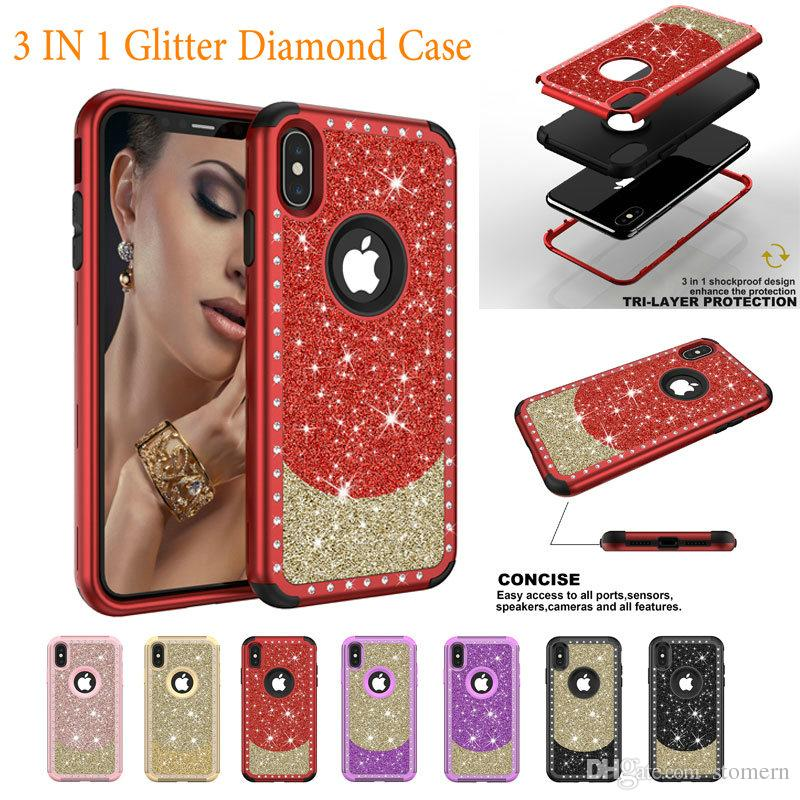 Estuche de diamantes con purpurina para iPhone X Xr Xs Máx. 8 7 6 6 s Plus 5 5S SE 3 en 1 Cubierta de TPU de goma de plástico a prueba de golpes Armadura híbrida resistente