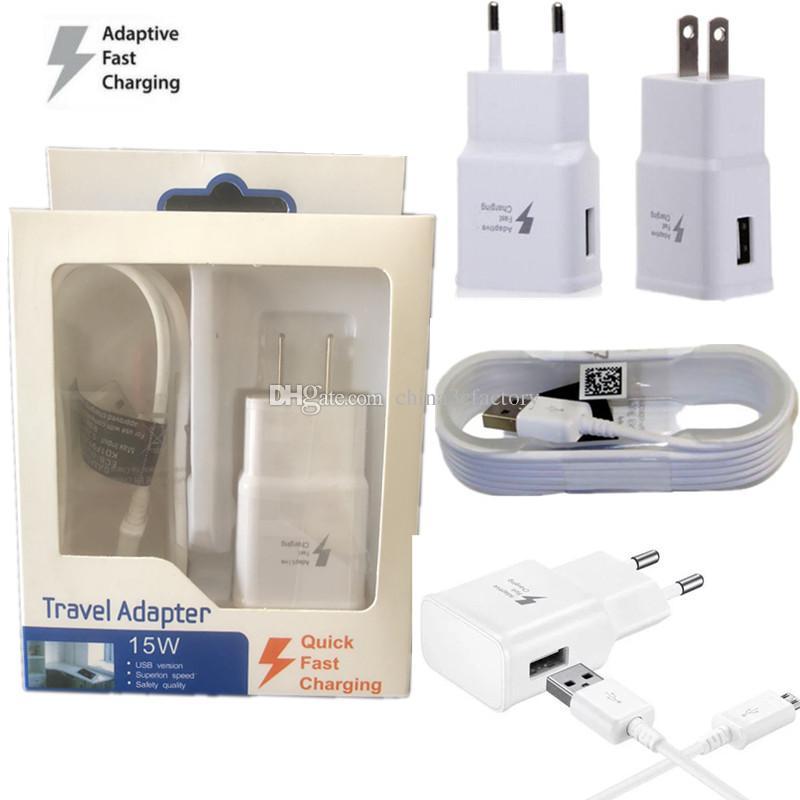 Зарядное устройство адаптер быстрая зарядка путешествия зарядное устройство + 1.5 м Micro USB кабель для передачи данных для Samsung Galaxy S6 Edge Plus с розничной упаковке