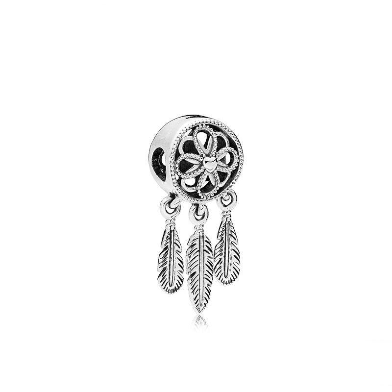 20pcs dreamcatcher 귀여운 합금 비즈 매력 Pandora DIY 쥬얼리 유럽 팔찌 뱅글 여성 여자 드림 캐처 선물 B008