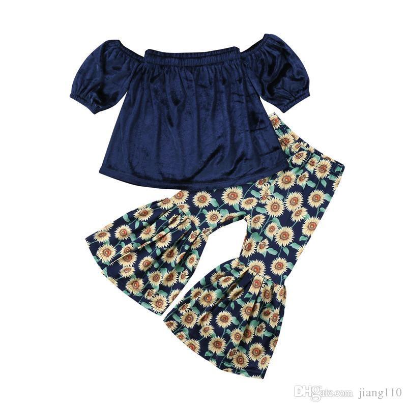 Baby Gold velvet outfits girls velvet Off Shoulder top+chrysanthemum print Flare pants 2pcs/set 2018 new Boutique kids Clothing Sets 2t-7t
