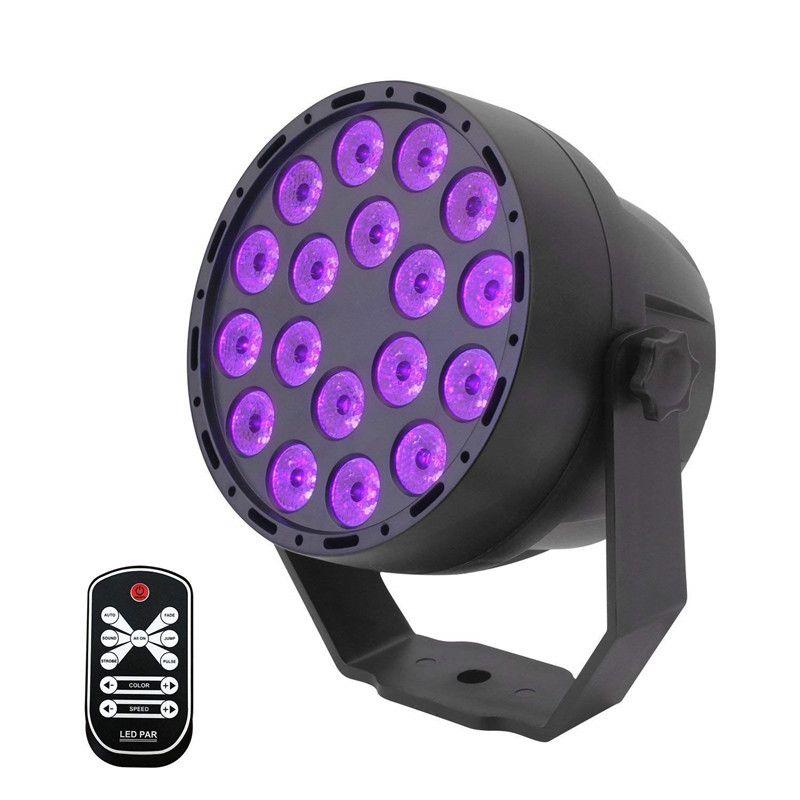 UV LED 파 무대 조명 18x3W 자외선 검은 빛 DMX 512 IR 원격 제어 사운드 활성 프로젝터 램프 파티 바 클럽 디스코