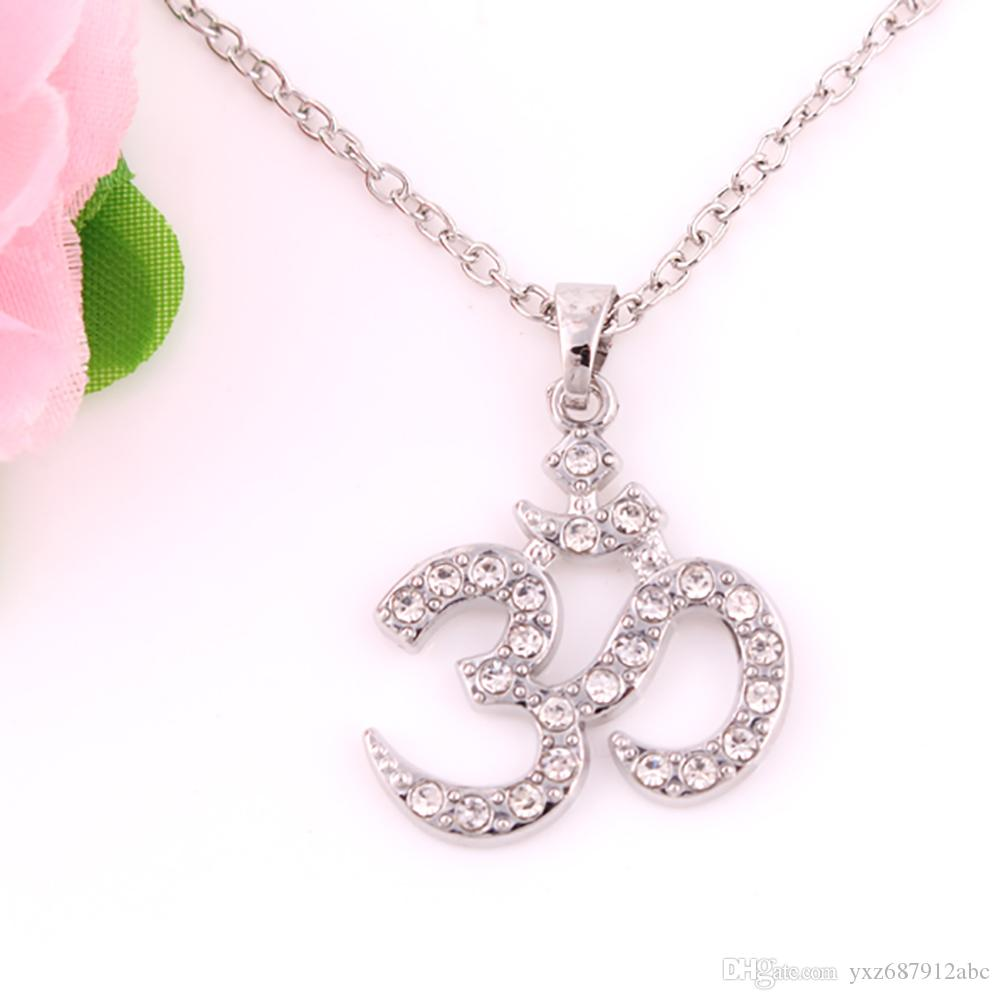 Large Om AUM Pendant Necklaces Studded With Clear Crystal Religious Yoga Charm Necklace Jewelry