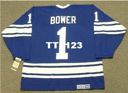Mens #1 JOHNNY BOWER Toronto Maple Leafs 1967 CCM Vintage Away Hockey Jersey or custom any name or number retro Jersey