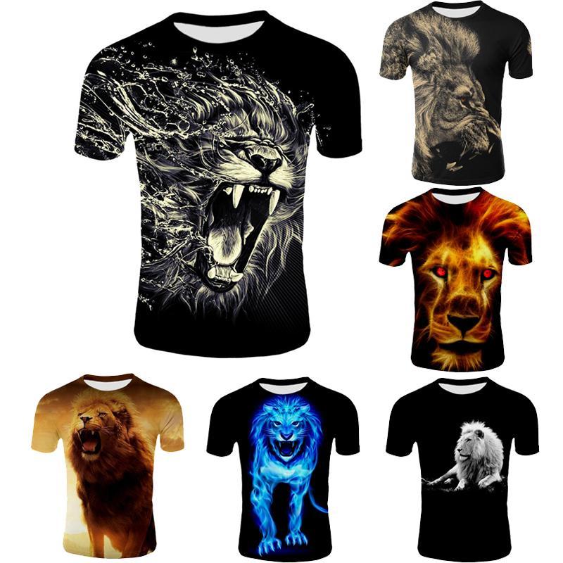Новый короткий рукав Футболка 2018 Summer Casual 3D Lion цифровой печати Мужская футболка Горячие моды Тонкий Гавайский T-Shirt Размер S-4XL
