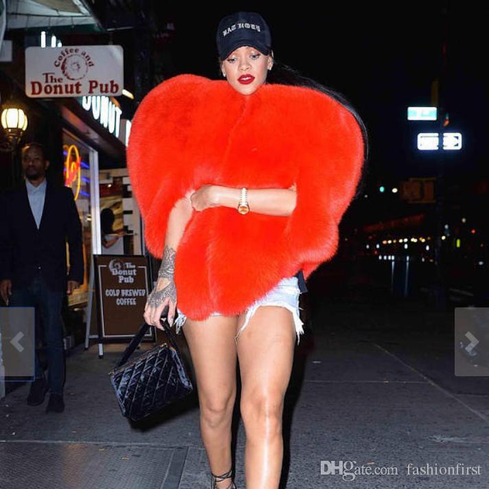 Frete grátis Brasão Para Women Coat Outwear Coração do inverno das mulheres Faux Fox Outwear Moda casacos de pele