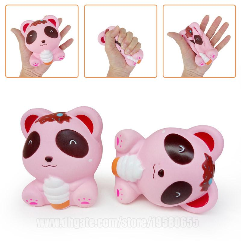 Pink Bear With Icecream Squishies Slow Rising Toys