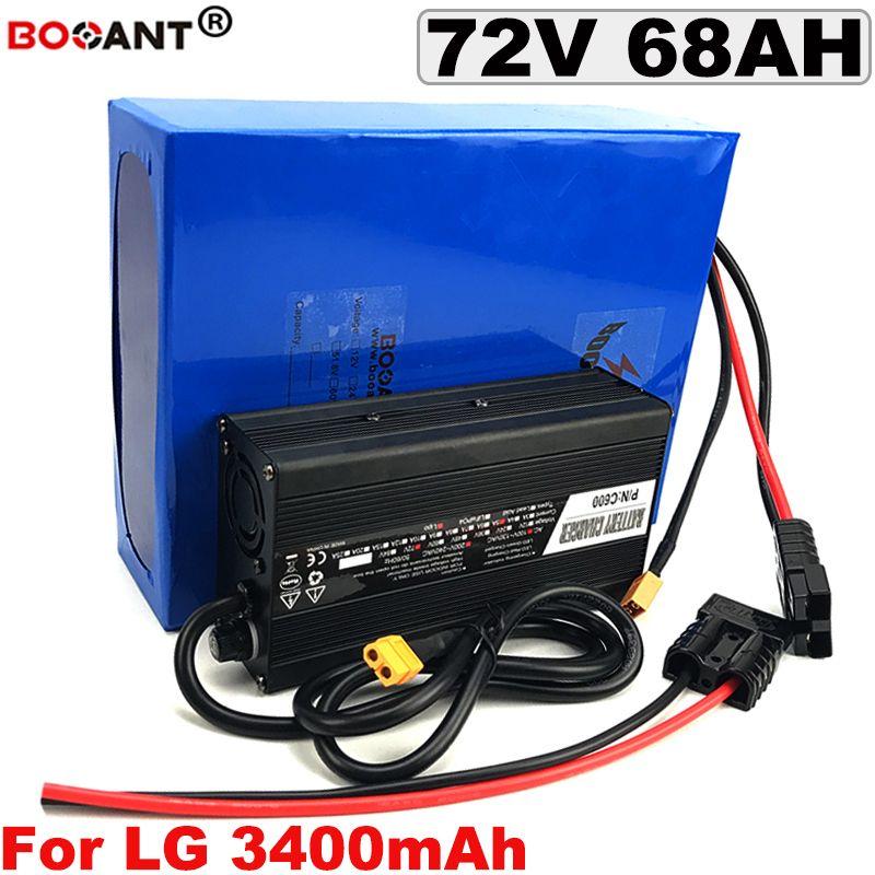 Мощный аккумулятор 72V 68AH литий для Оригинального LG 18650 Cell Электрического велосипеда батареи 20S 72V 5000W 7000W + 5A зарядное устройство Бесплатной доставки