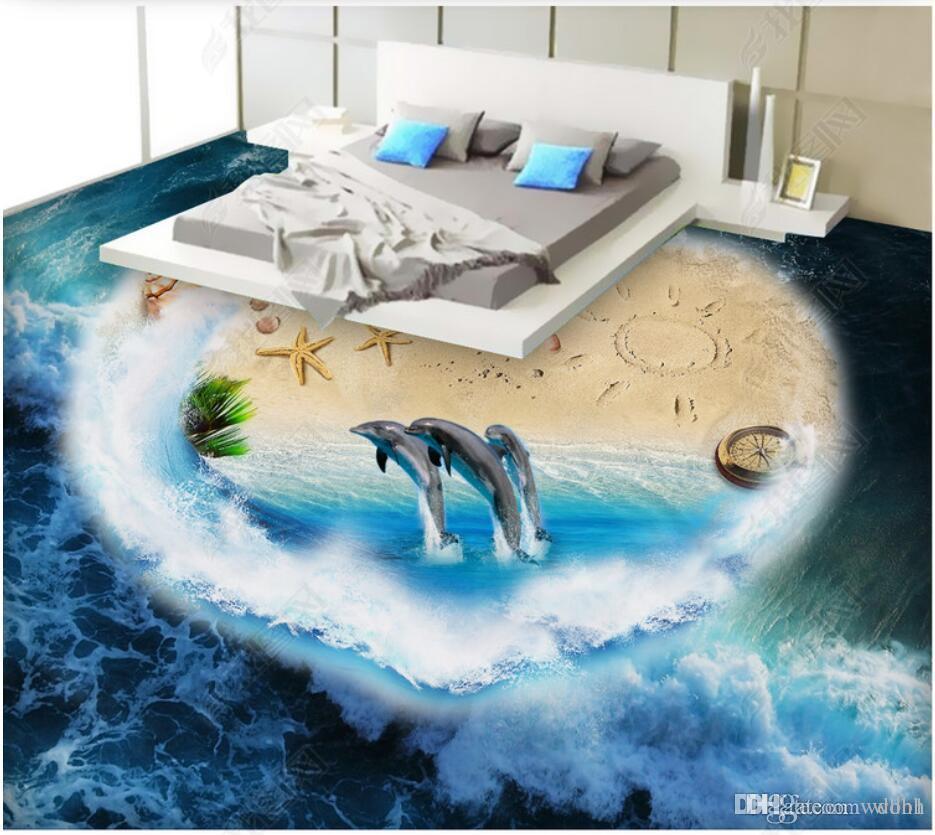 Pvc 3d bodenbelag benutzerdefinierte foto Wasserdichte boden wandaufkleber Aegean Sea Dolphin Starfish Ocean World 3D Bodenbeläge 3d wandbilder tapete