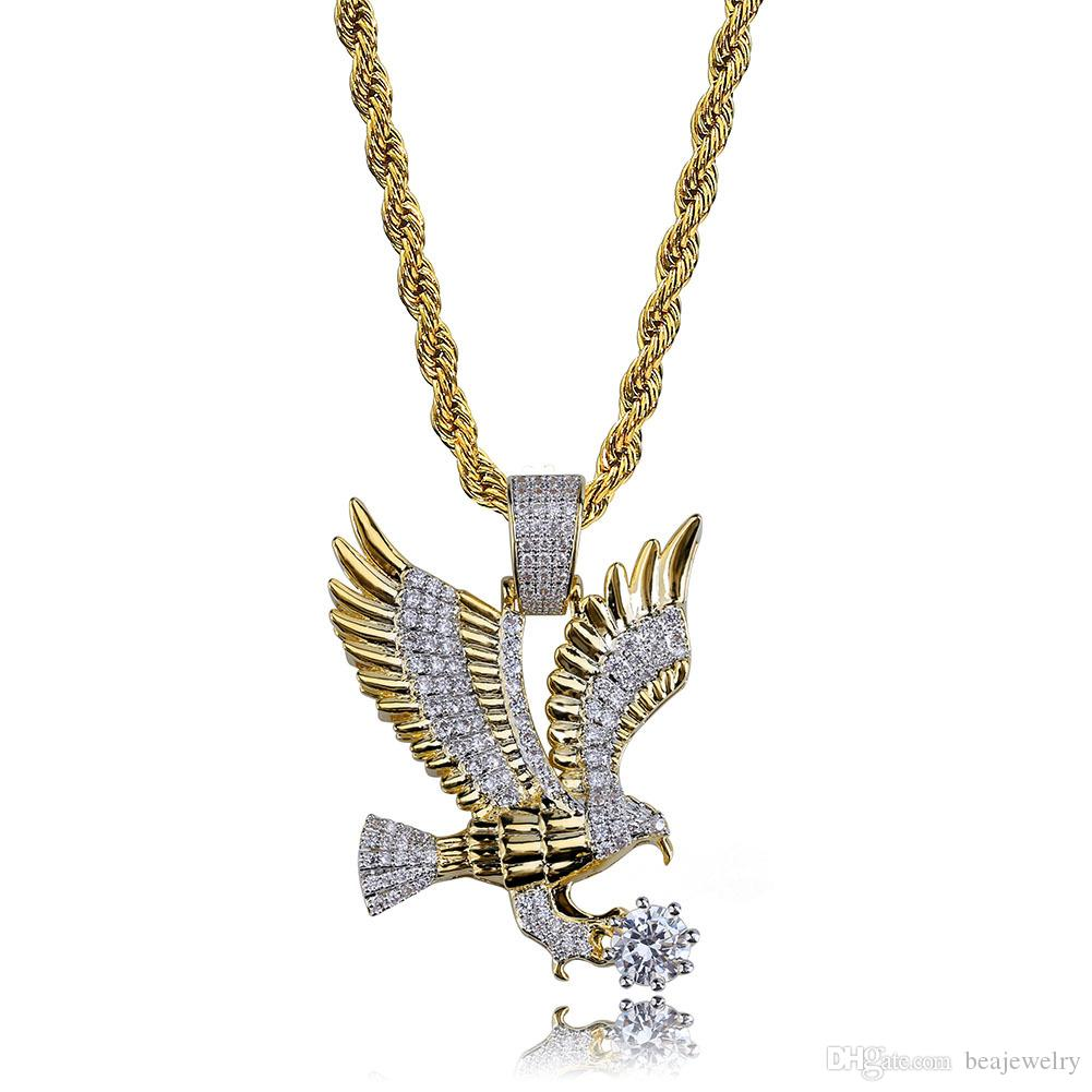 Новый хип-хоп позолоченный Медный лед из микро проложили CZ Орел ожерелье мужчины Шарм ювелирные изделия