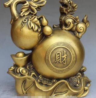 "10 ""Chinois Pur Bronze Richesse Yuanbao Bouteille Statue Bête Pixiu Brave Troupes"