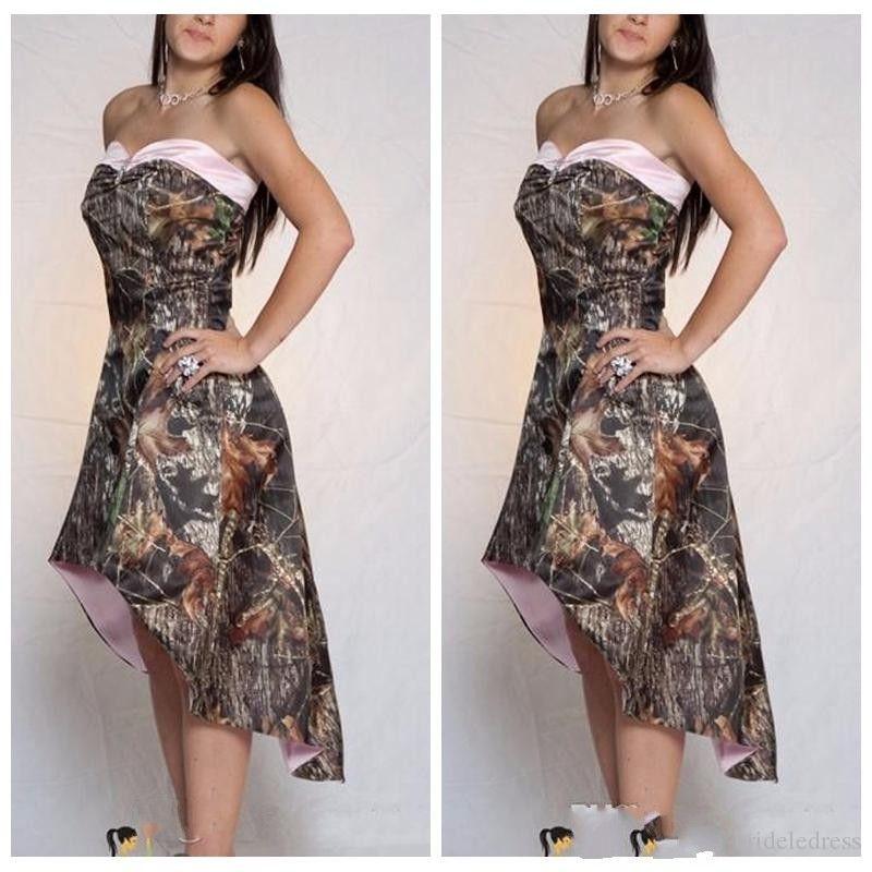 2018 라인 낮은 낮은 Camo 들러리 드레스 짧은 맞춤형 정장 Vestidos 드 들러리 메이드의 저렴한 온라인 위장 명예