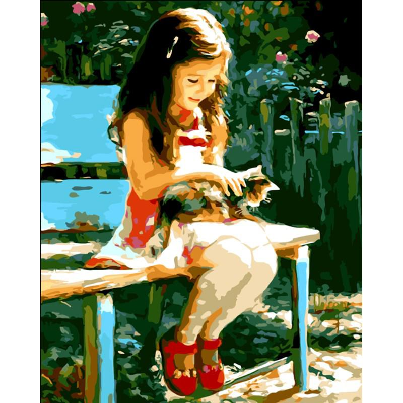 Pittura Frameless Girl And Cat Diy By By Numbers Decorazione moderna Dipinto a mano olio su tela Acrilico Picture Arts