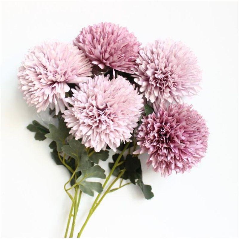 Fake Long Single Stem Dandelion Simulation Oil Painting Chrysanthemum Ball for Wedding Home Decorative Artificial Flowers