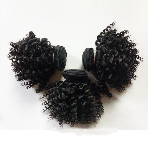 Cheveux humains vierges brésiliens malaisiens tisse 3pcs style court 8-12 pouces Kinky bouclés cheveux trame beauté European Indian remy extensions de cheveux