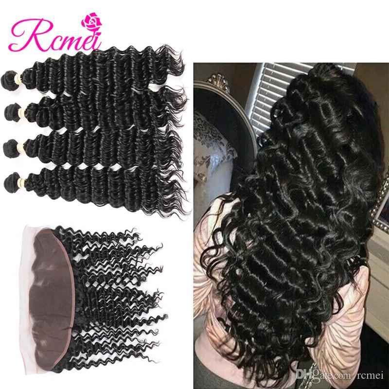 Rcmei Mongolian Deep Wave 4 paquetes con paquetes de cabello humano Remy frontal 13x4 Cierre frontal de encaje con paquetes Envío gratuito