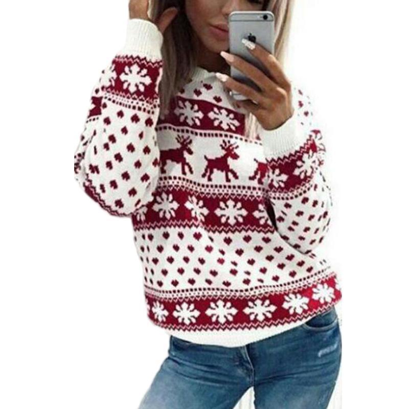 Рождественский свитер для женщин 2018 осень зима олень снег pattern лоскутное уродливые свитер Вязаные джемперы пуловеры трикотаж красный S18100803