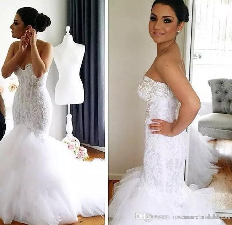 Real Image Mermaid Style Lace Mermaid Wedding Dresses