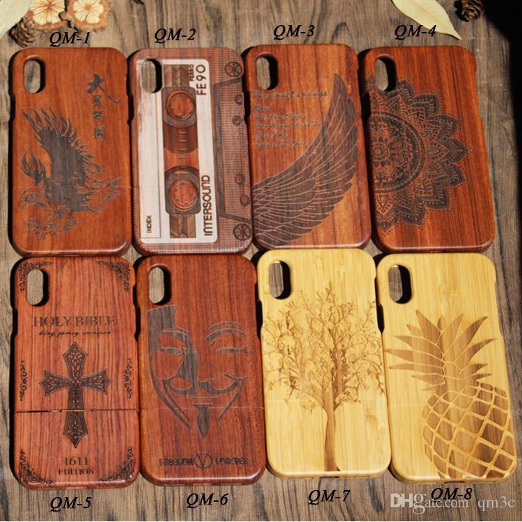 Ursprungshersteller reales Holz-Fall für Iphone X 10 7 plus 8 6 6s 5 Se-Mobiltelefon-Abdeckungs-Fälle Bambus Holzkasten für Samsung S9 S8 S7