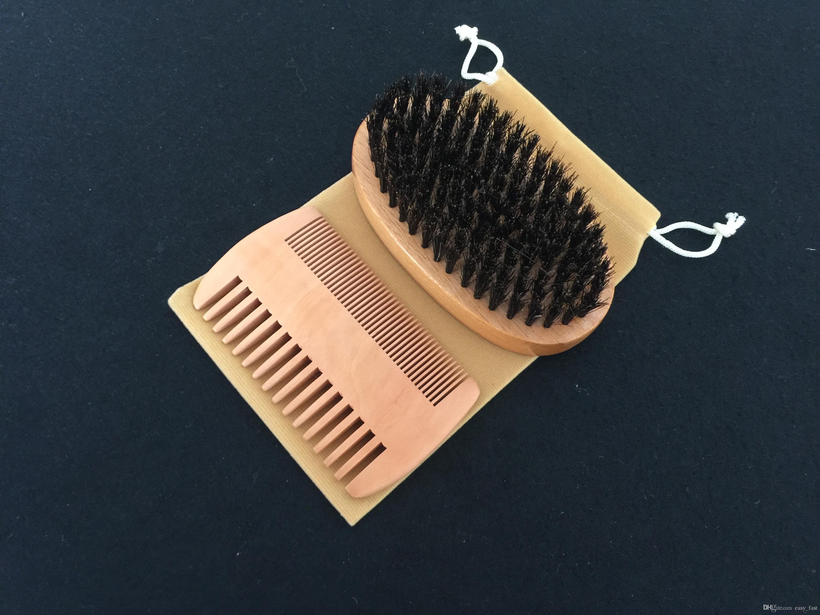 New 3in1 Boar Bristle Beard Brush & Peach Wood Comb Cotton Bag Set Bearded Men Travel Carry Makeup Fashion Hair Care Styling Grooming Tool