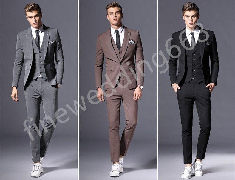 Beau Trois Pièces Couleur Personnalisée Pic Revers De Mariage Groom Tuxedos Hommes Costumes De Mariage / Bal / Dîner Meilleur Homme Blazer (Veste + Cravate + Gilet + Pantalon)