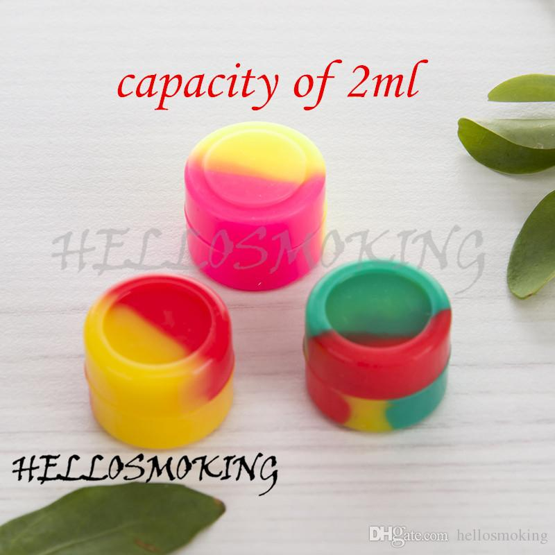 DHL Capacity Of 2 ML Silicon Container Jar for Dab Oil Rig Dry herb Wax Box Mixed Coloful free shipping hellosmoking 446