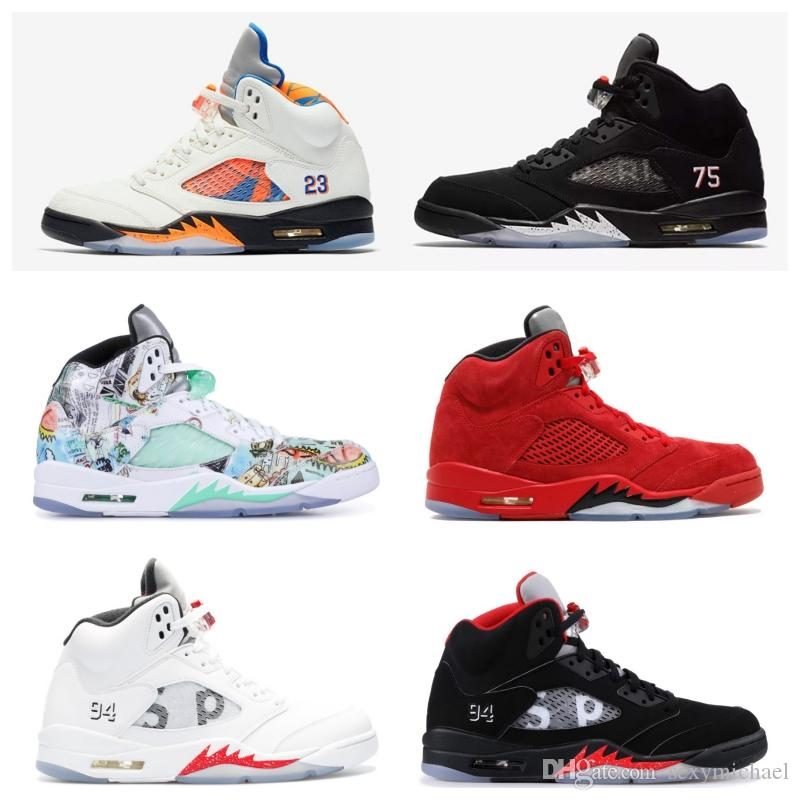5s New Wings Paris 5 International Flight Red Blue Suede White Cement Camo Oreo Basketball Sports Shoes Sneakers For Men Women Sport Shoes Mens