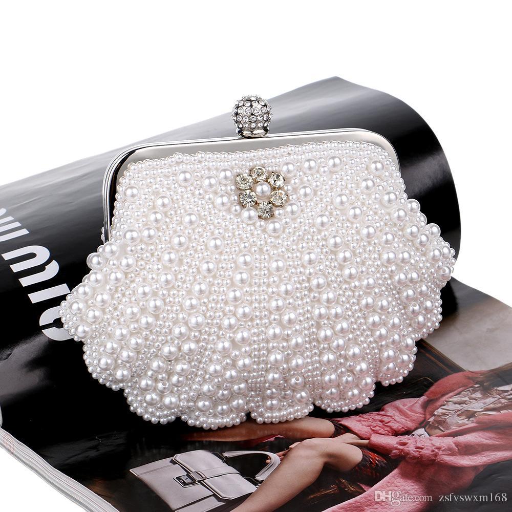 العروس الأزياء مطرز الصلبة اللون عشاء حقيبة لؤلؤة مساء شل التعامل مع حقيبة سلسلة