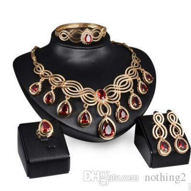여성 핫 패션 웨딩 쥬얼리 붉은 크리스탈 목걸이 팔찌 귀걸이 반지에 보석 보석 세트
