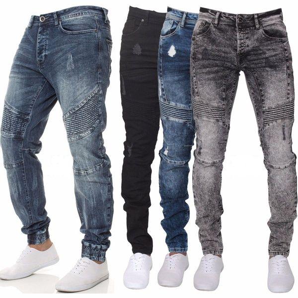 nueva llegada 7c654 5f0b4 Compre Pantalones Vaqueros Ajustados De La Moda De Los Hombres Pantalones  Vaqueros Azules De Otoño E Invierno Pantalones De Mezclilla Azul Apto ...