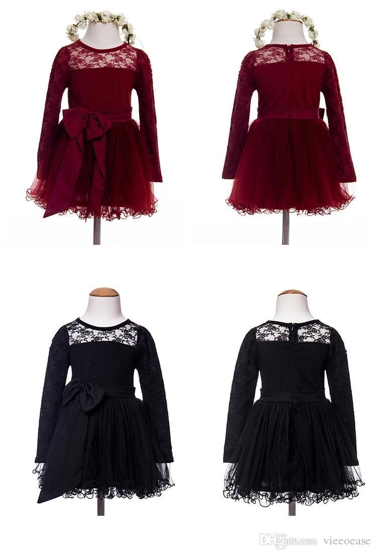 Vieeoease Girls Dress Christmas Stripe Kids Clothing 2020 Autumn Fashion Long Sleeve Lace Tutu Princess Party Dress KU-005