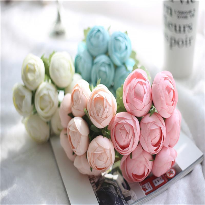 25 cm Długie Koreańskie Cukierki Kolor Okrągły Land Lotus Bukiet Imitacja Kwiat Home Decoration Rośliny Kwiaty Ślubne Kwiaty