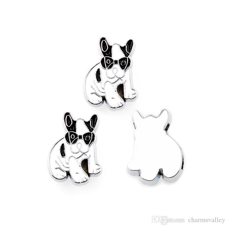 10PCS 8mm Esmalte Blanco Dog Slide Charms Tobogán Ajuste Fit DIY 8mm Pulseras Pulseras, Correas de correa