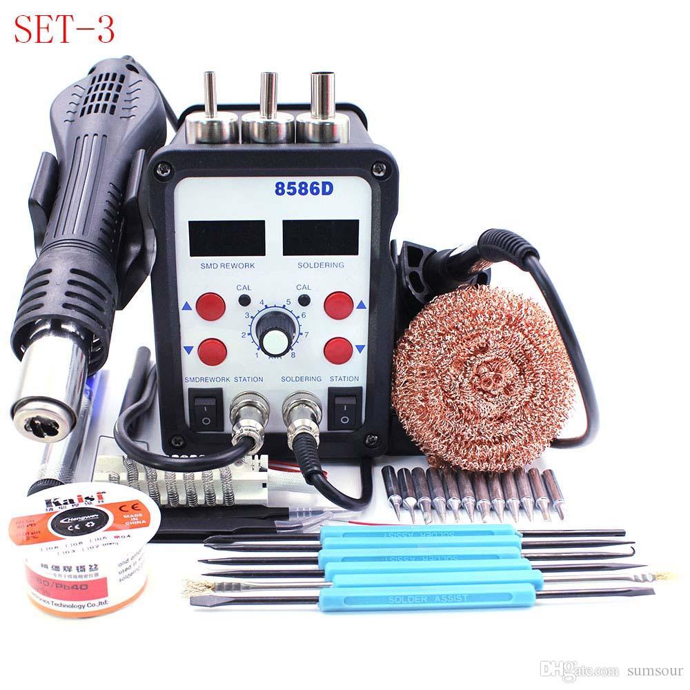 Station de soudage ESD 8586D Double affichage numérique Fer à souder électrique Air chaud Het Gun SMD BGA Réparation de la soudure Soudeur Réparation de dessoudage