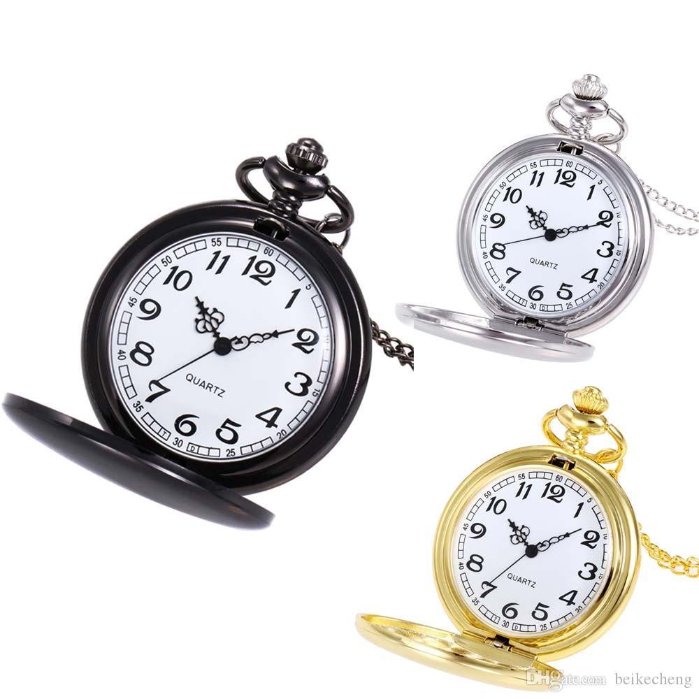 Wholesale 3Colors Quartz watches Chain Bronze Polished double face pocket watches PW156