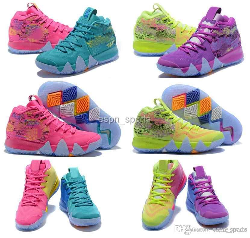 new arrival 775fd d51ce 2018 New Kyrie Men Basketball Shoes Irving 4 Multicolor Pink Green Sports  Trainers Sneakers Kyries Shoe 4s Designer Mens Air Chaussures Buy Shoes ...