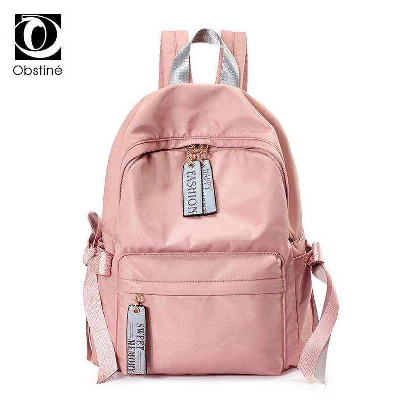 Waterproof Oxford School Backpack for Teenager Girl Cute Bow Backpacks Women USB Charger Laptop Bagpack Female Pink Back Pack