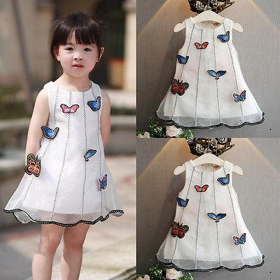 Pageant Kids Baby Girls Dresses Butterfly Party Bridesmaid Formal Dresses