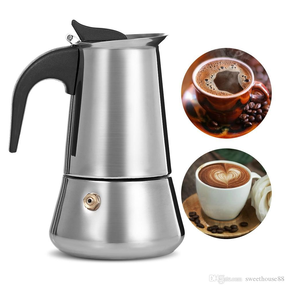 MOKA Caffettiera moka in acciaio inox Filtro Espresso Coffee maker Moka