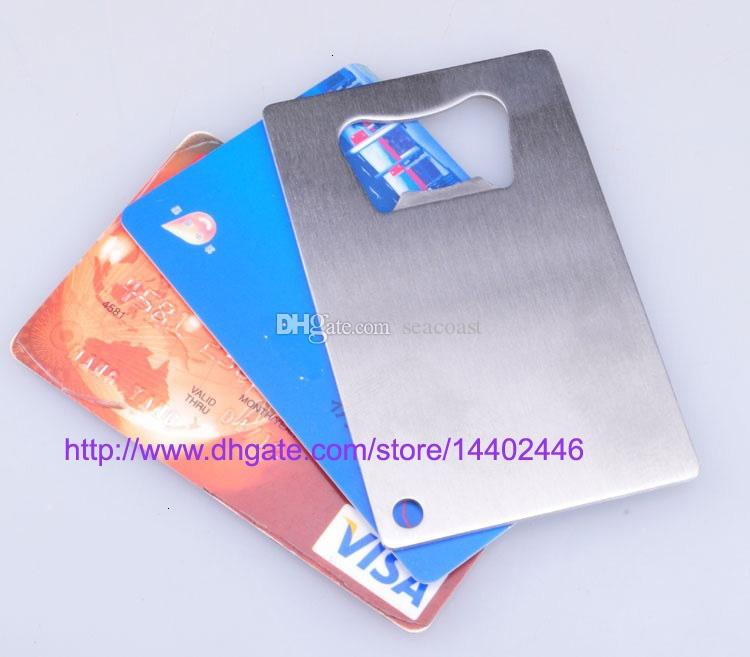 100pcs a lot Free shipping Polybag Packing Wallet Size Stainless Steel Credit Card Bottle Opener Openers