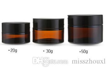 200pcs tarro de crema de cristal ambarino marrón 20g 30g 50g con la tapa negra, tarro cosmético de 30 gramos, embalaje para la crema del ojo de la muestra, botella 30g