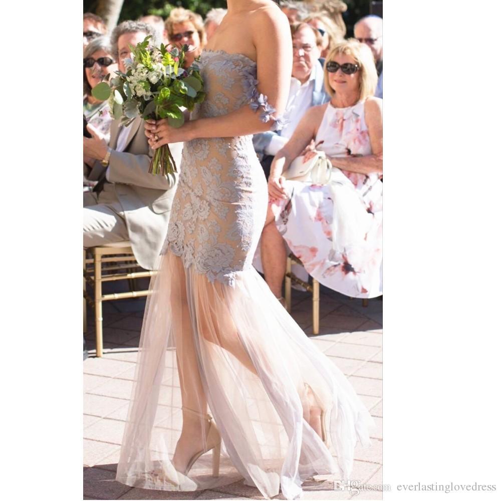 Straplez Kapalı Omuz Sapanlar Dantel Gelinlik Modelleri Ucuz Tül Illusion Etek Ile Düğün Törenlerinde Vestido de madrinha longo