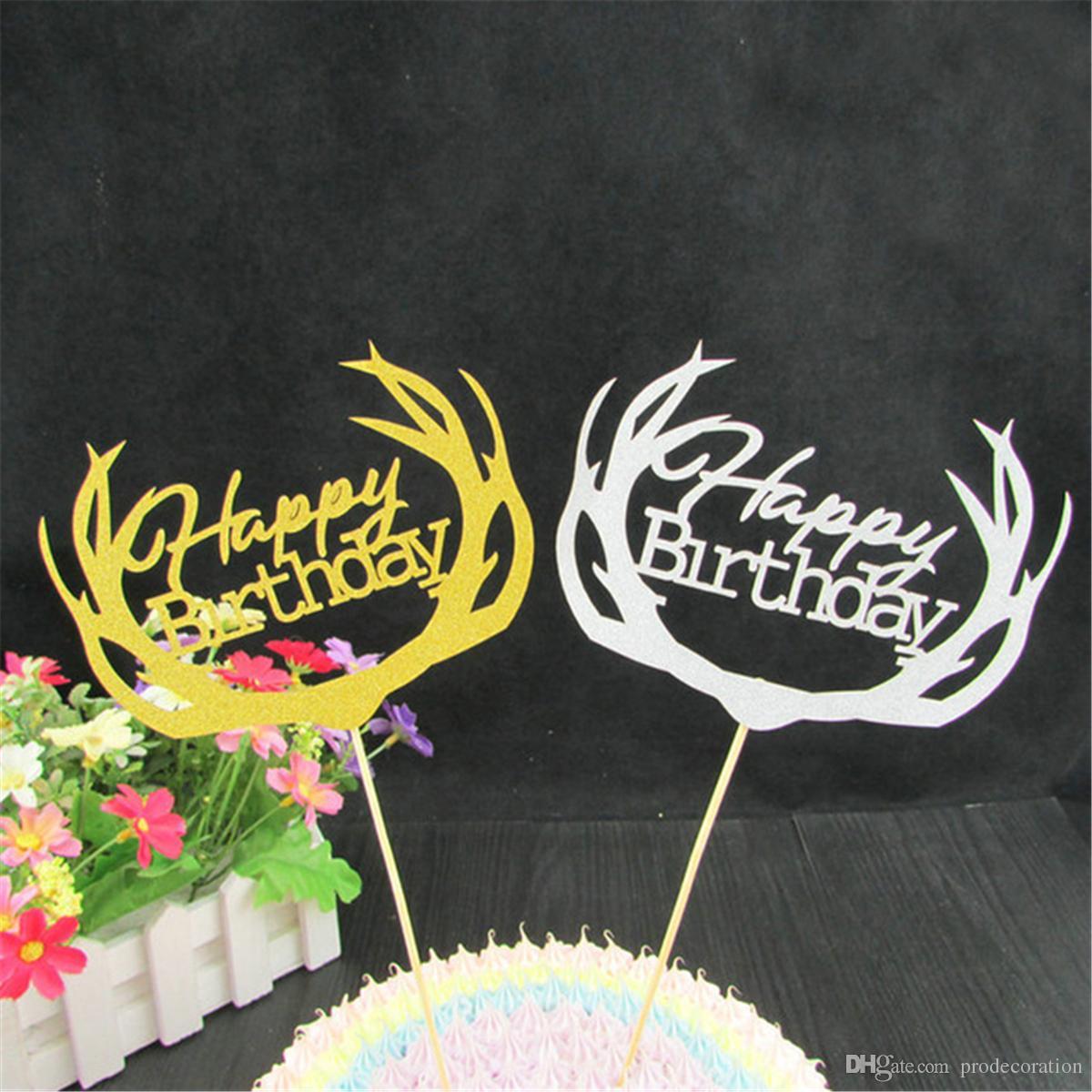 Swell 2020 Glitter Deer Happy Birthday Cake Topper Cupcake Decoration Birthday Cards Printable Inklcafe Filternl