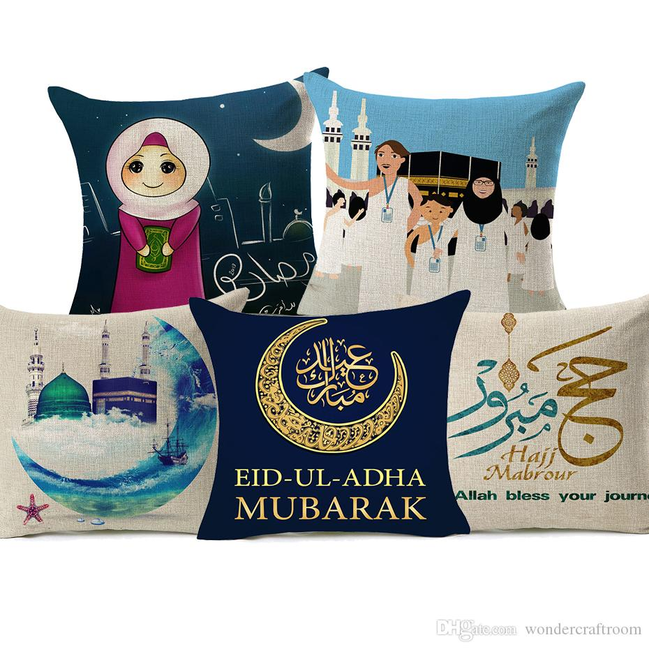 HAJJ Mubarak Cushion Covers Islam Muslim Kaaba Mecca Moon And Stars Cushion Cover Decorative Linen Cotton Pillow Case For Sofa Couch Seat